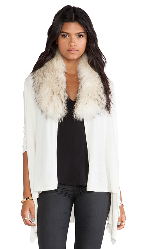 Izzy Cascade Cardigan With Fur Collar