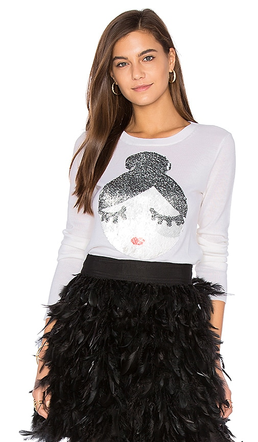 Alice + Olivia Stace Face Sweater in White
