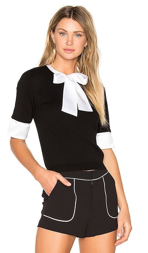 Alice + Olivia Ciel Tie Neck Sweater in Black & White