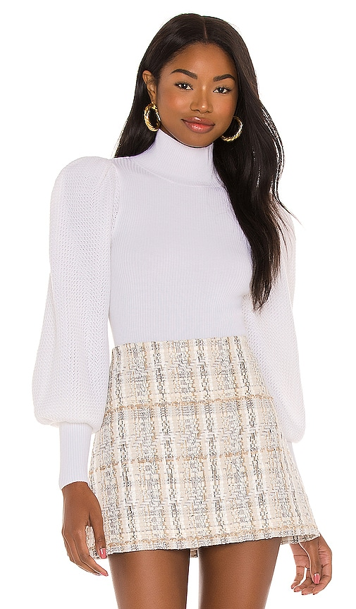 Alice + Olivia Babette Turtleneck Puff Sleeve Ribbed Pullover in Soft White | REVOLVE