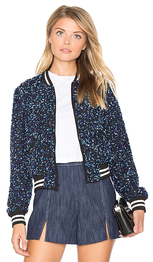 Alice + Olivia Lonnie Cropped Bomber Jacket in Blue