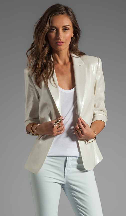 One Button Ruched Sleeve Blazer