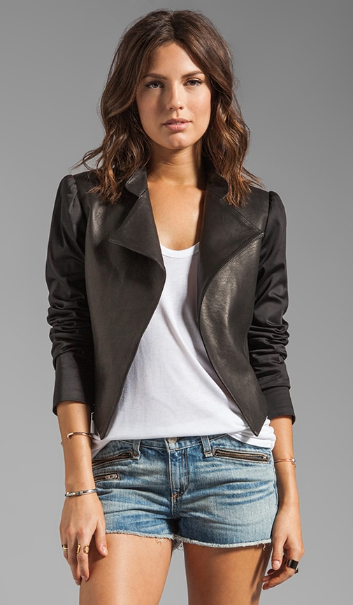 Luzia Moto Blazer with Leather Combo