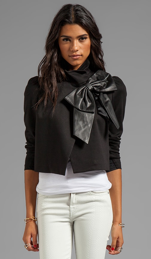 Shandy Side Leather Bow Cropped Jacket