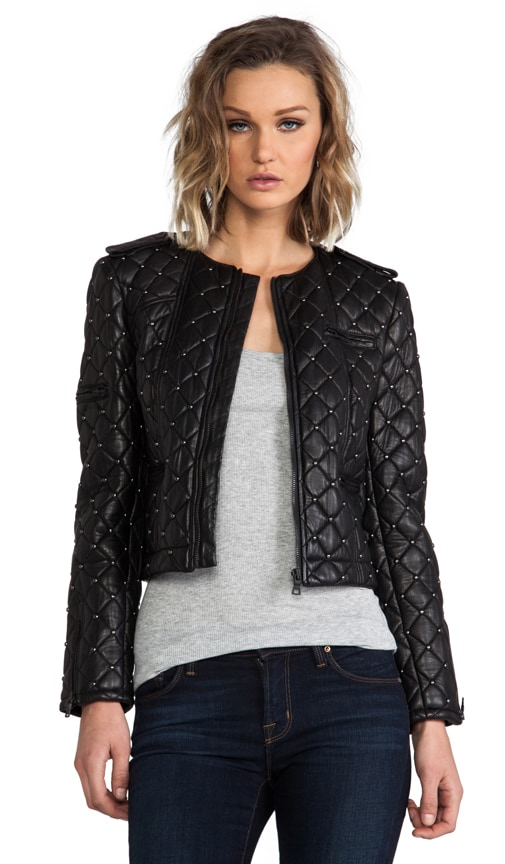 Siri Quilted Zipper Sleeve Biker Jacket