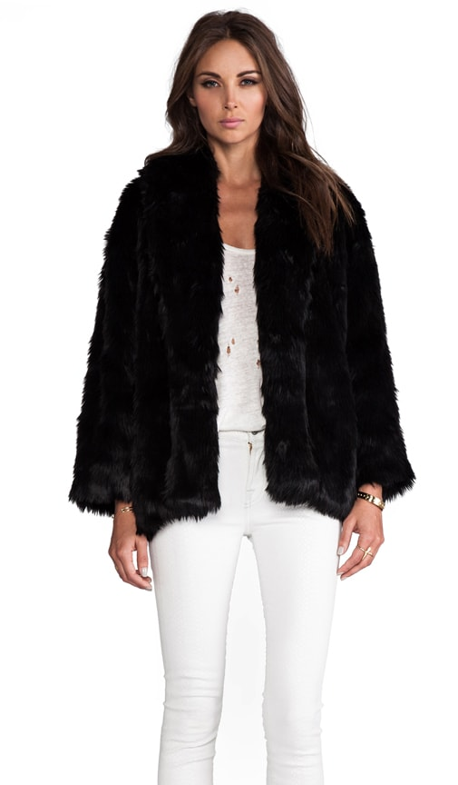 Alita Oversized Shawl Collar Faux Fur Coat