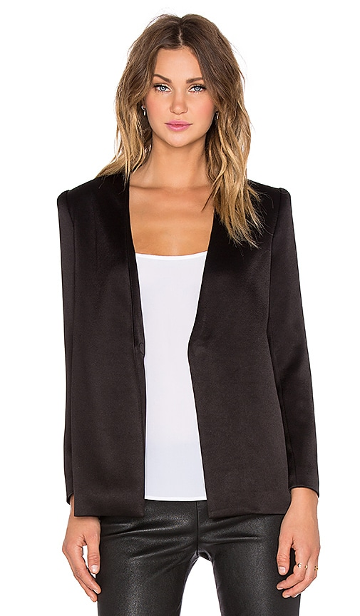 Alice + Olivia Brevyn Collarless Blazer in Black
