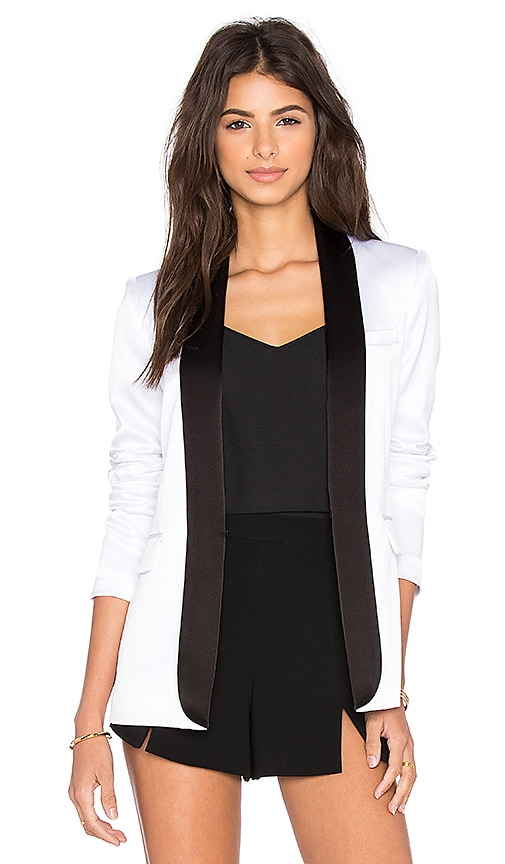 Alice + Olivia Edison Tuxedo Blazer in White & Black