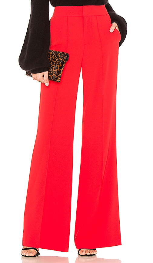 Alice + Olivia Dyan Pant in Red