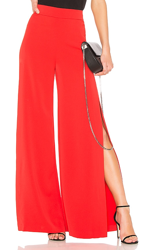 Alice + Olivia Florinda Wide Leg Pant in Red