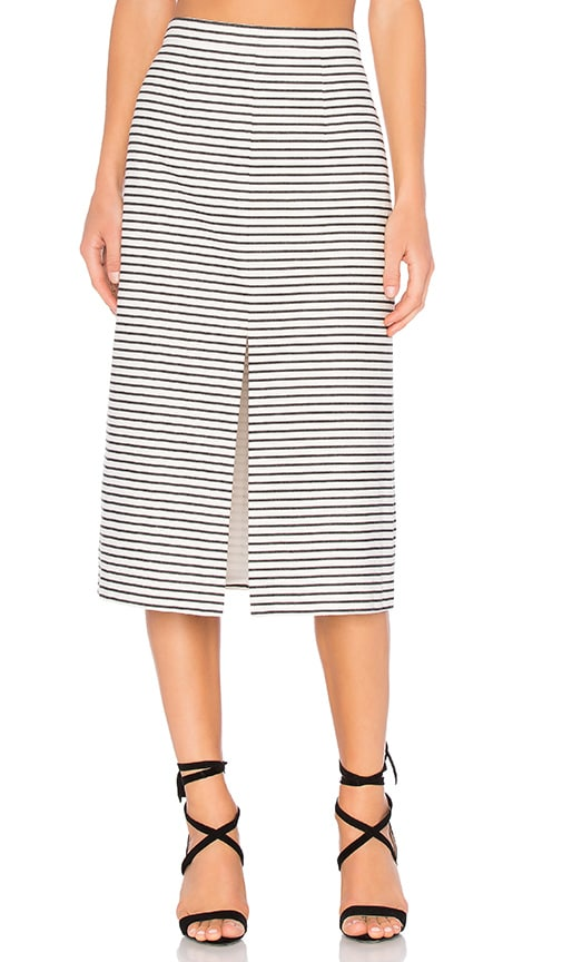 Alice + Olivia Sabrena Midi Skirt in Cream & Black