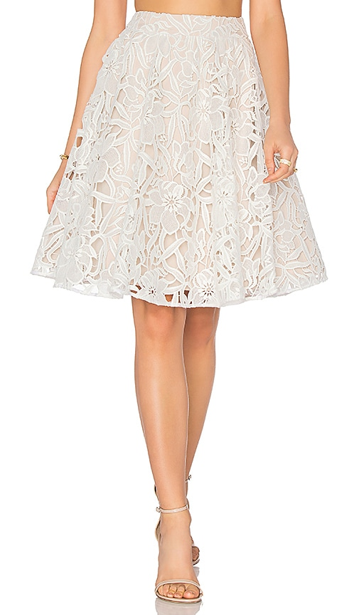 Alice + Olivia Earla High Waisted Skirt in White & Sesame