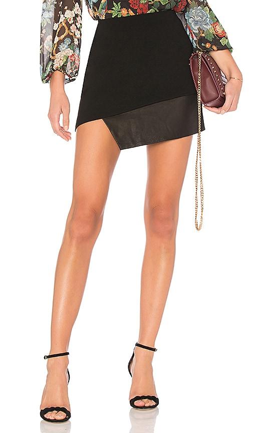 Dora Asymmetric Leather Combo Skirt