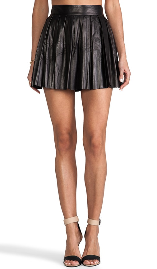 Dara Box Pleat Leather Skirt