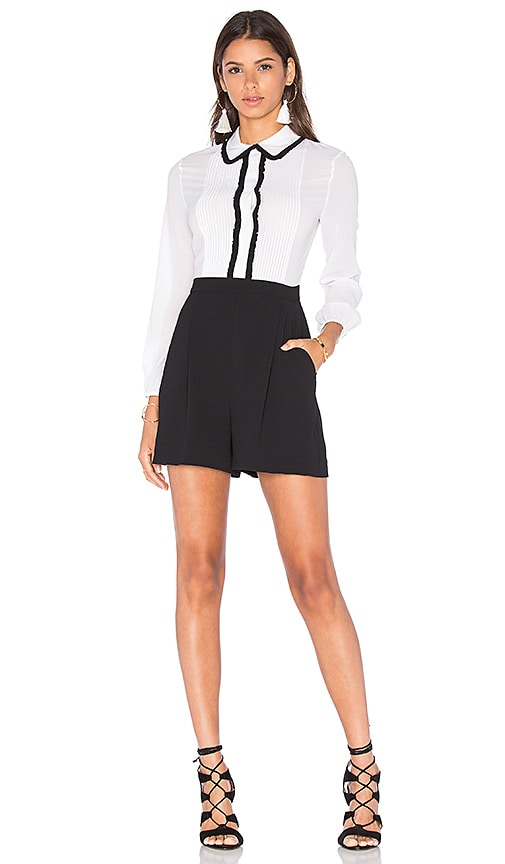 Alice + Olivia Kara Blouse Romper in Black