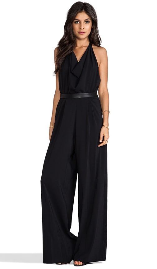 Danyl Open Back Disco Jumpsuit with Leather Waistband
