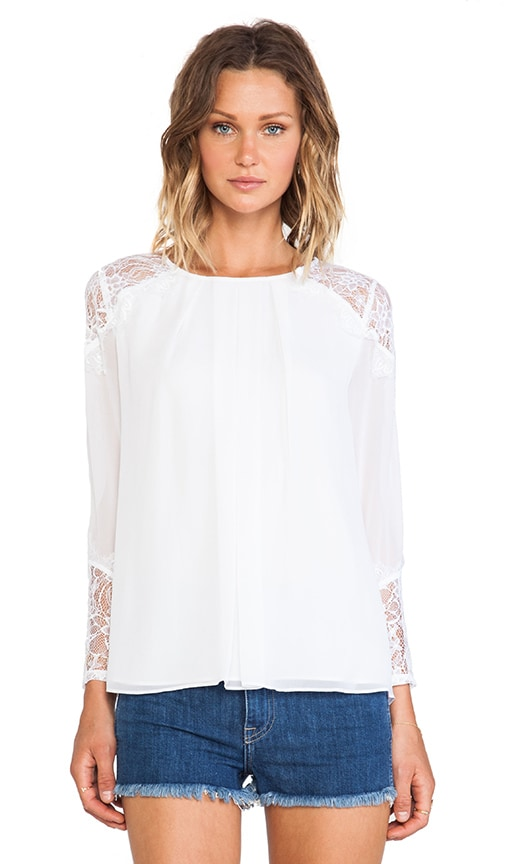 Danyelle Lace Shoulder Pleat Front Blouse