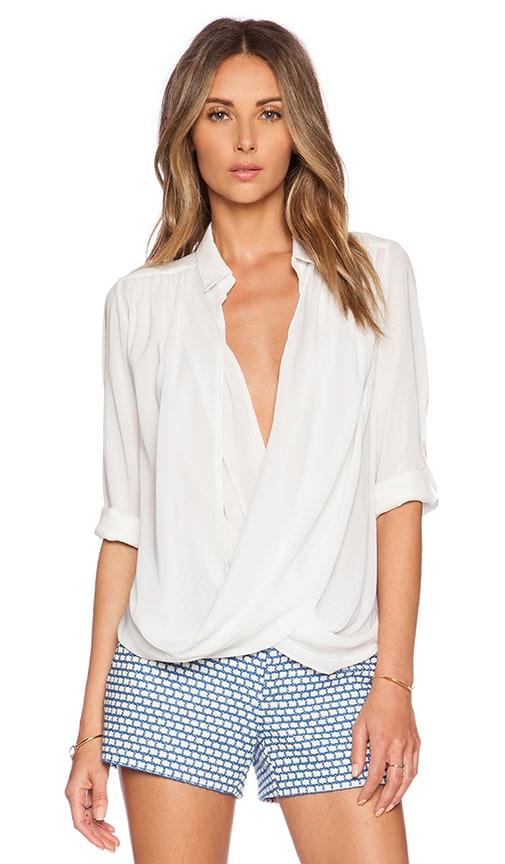 Alice + Olivia Lalita Draped Collared Shirt in Off White
