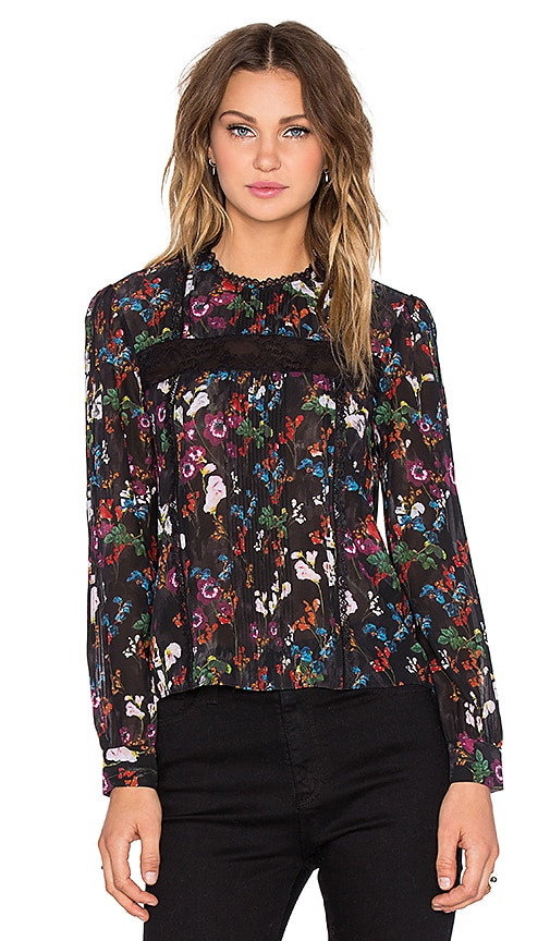Alice + Olivia Angeline Pintuck Blouse in Fall Garden