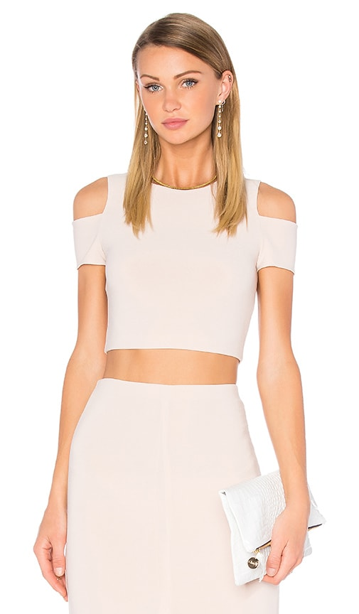 Alice + Olivia Vicki Cold Shoulder Top in Blush