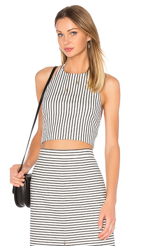 Alice + Olivia Jaymee Halter Crop Top in White