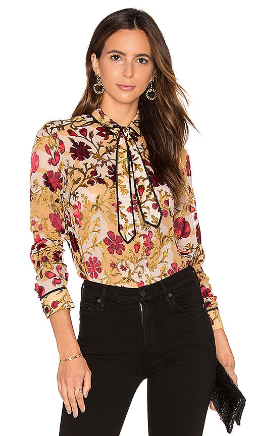 Alice + Olivia Cora Contrast Blouse in Yellow