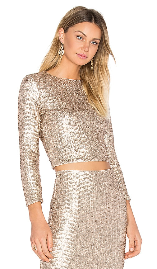 Alice + Olivia Lebell Crop Top in Metallic Bronze