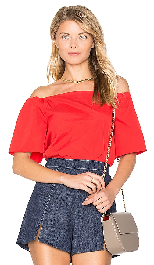 Alice + Olivia Christy Off Shoulder Top in Red