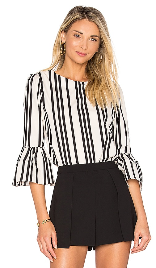 Alice + Olivia Bernice Top in Black & White