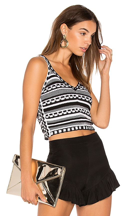 Alice + Olivia Sandrine Crop Tank in Black