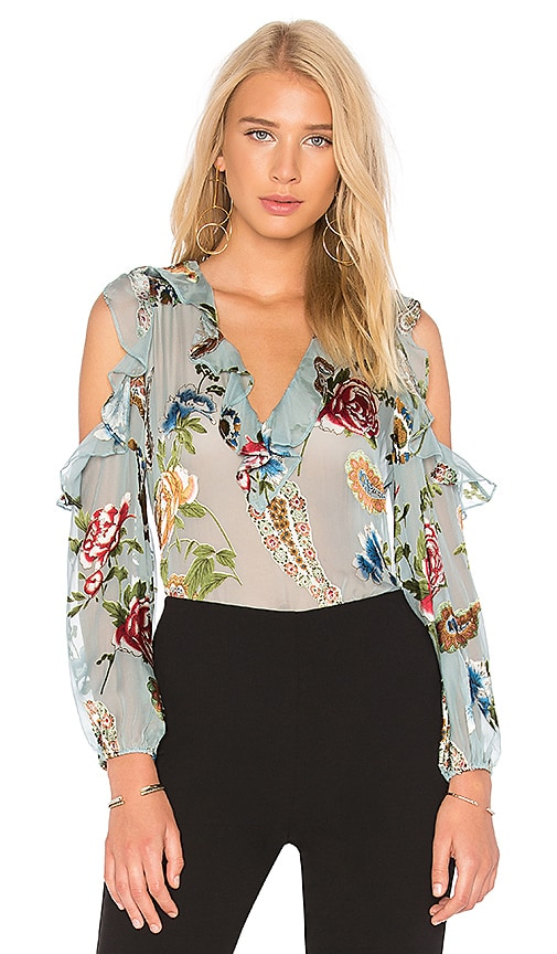 Alice + Olivia Gia Top in Turquoise