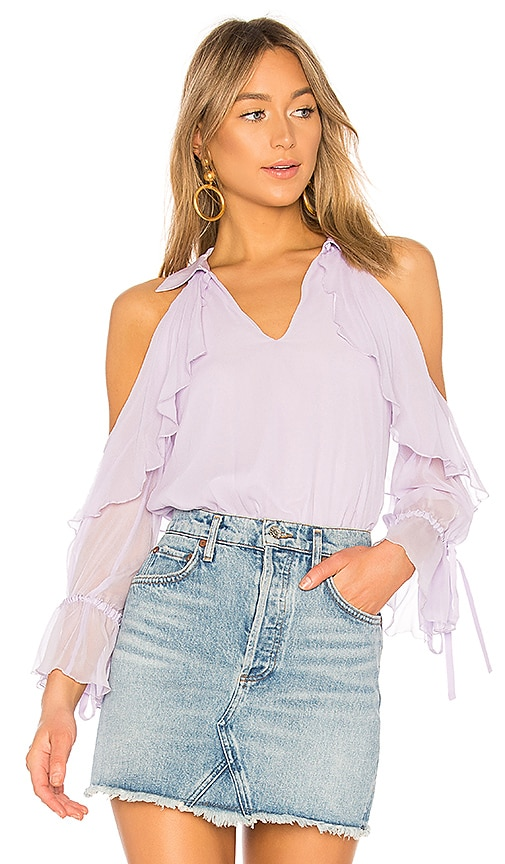 Alice + Olivia Blayne Bow Cuff Top in Lavender