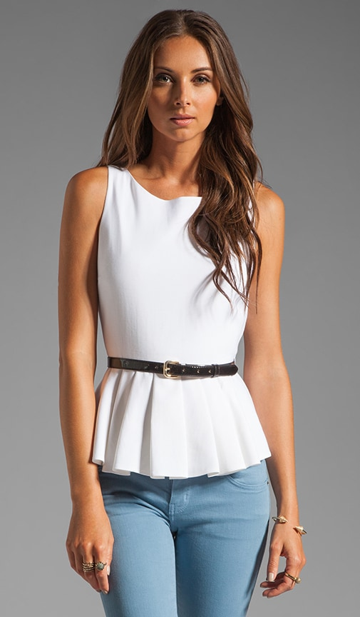 Brigitte Dropped Peplum Top with Belt