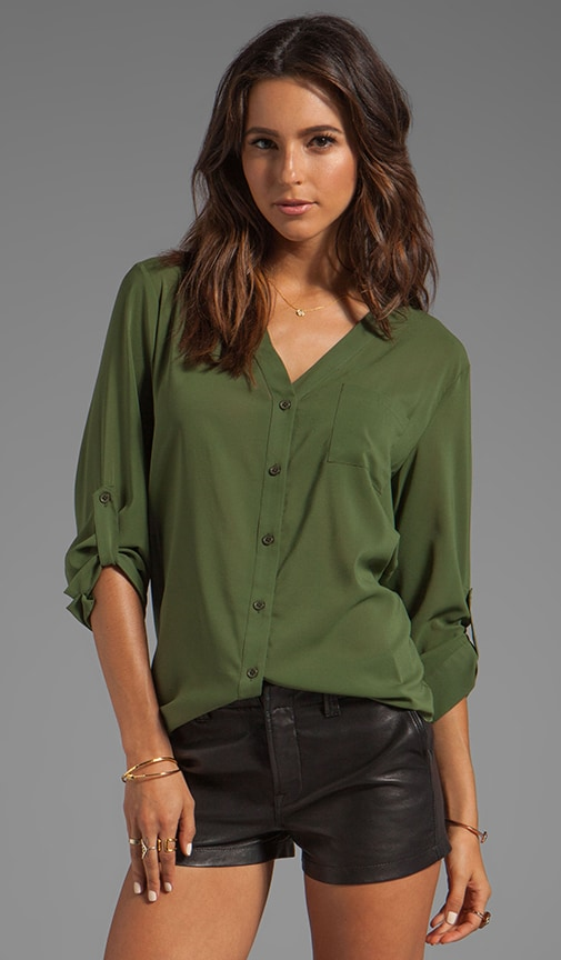 Colby Rolled Sleeve Draped Button Down Top