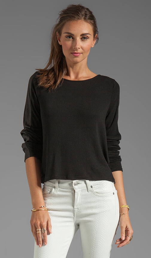 Leather Stripe Long Sleeve Tee
