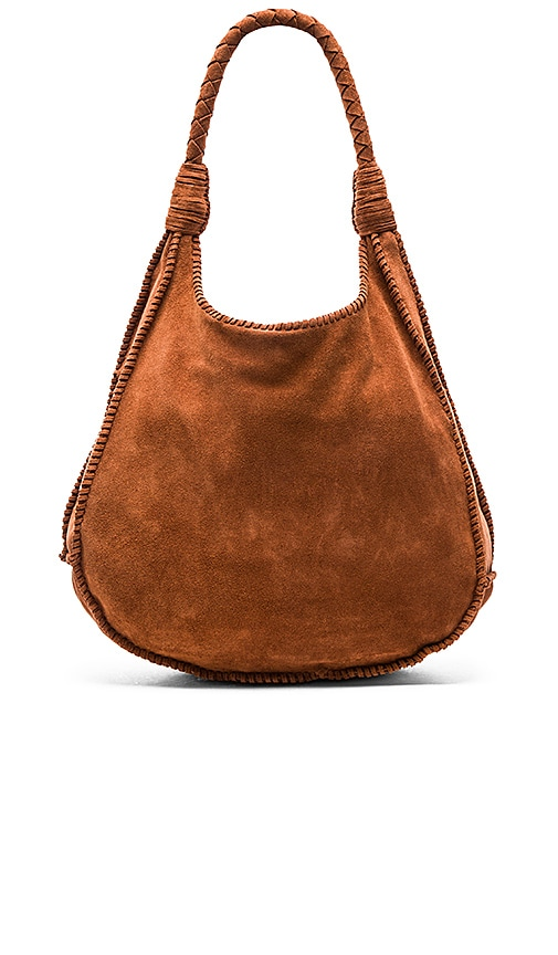Alice + Olivia Andrew Suede Hobo in Cocoa