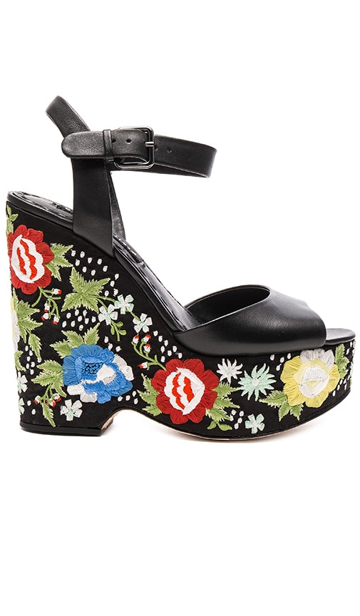 Alice + Olivia Siena Too Wedge in Black Nappa
