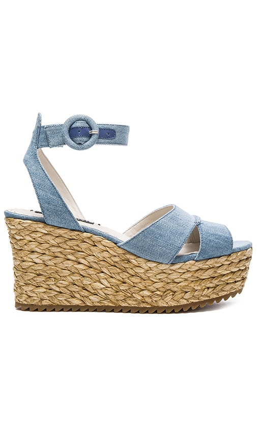 Alice + Olivia Roberta Sandal in Blue Denim Fabric