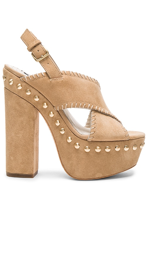 Alice + Olivia Giana Heel in Tan Oily Suede