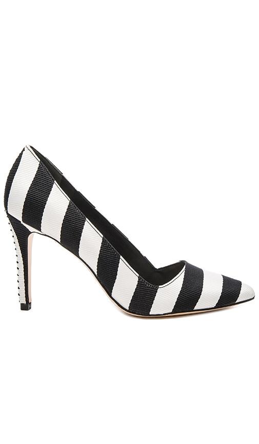 Alice + Olivia Dina 95 Heel in Black & White Stripe