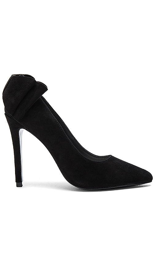 Alice + Olivia Dayna Suede Bow Back Heel in Black