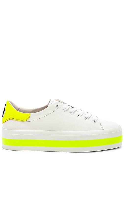 0a4c5bdb5ba8 Alice + Olivia Ezra Sneaker in Pure White   Neon Yellow