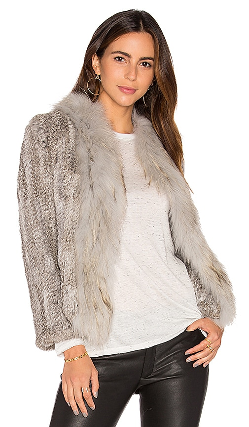 Arielle Frill Collar Jacket with Fox and Rabbit Fur in Gray