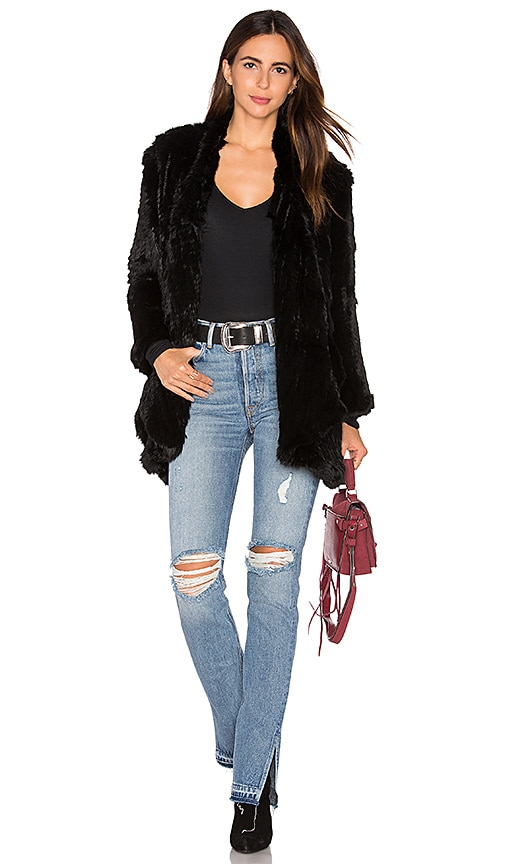 Arielle Draped Rabbit Fur Jacket in Black
