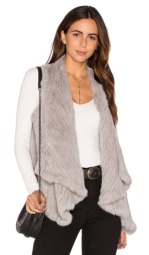 Arielle Draped Rabbit Fur Vest in Gray