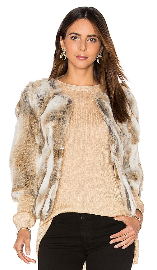 Arielle Lined Rabbit Fur Coat in Brown