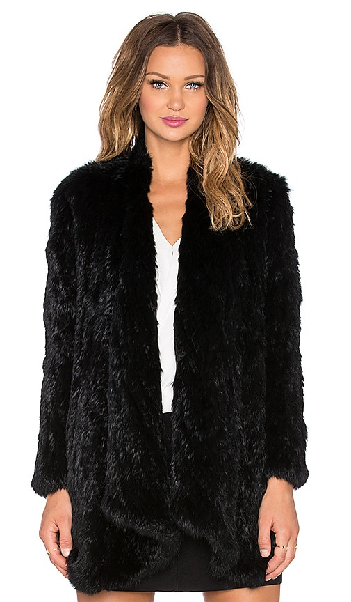 Draped Front Rabbit Fur Coat