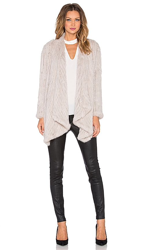 Arielle Draped Front Rabbit Fur Coat in Gray