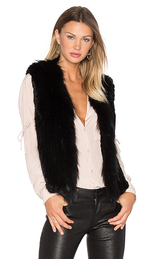 Arielle Short Collared Rabbit Fur Vest in Black