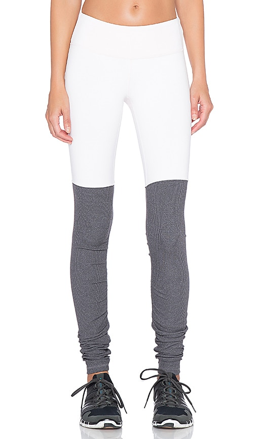 alo Goddess Ribbed Legging in Pink Cloud & Stormy Heather